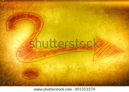 golden vintage question and exclamation mark - stock photo