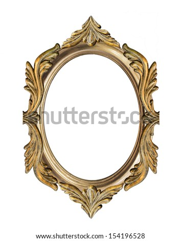 golden vintage style frame isolate on white background. Each piece separated, easy to edit. Clipping path applied