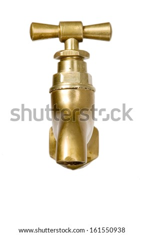 Golden vintage tap on white isolated background - stock photo