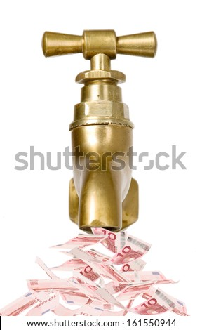 Golden vintage tap with money flowing out - stock photo