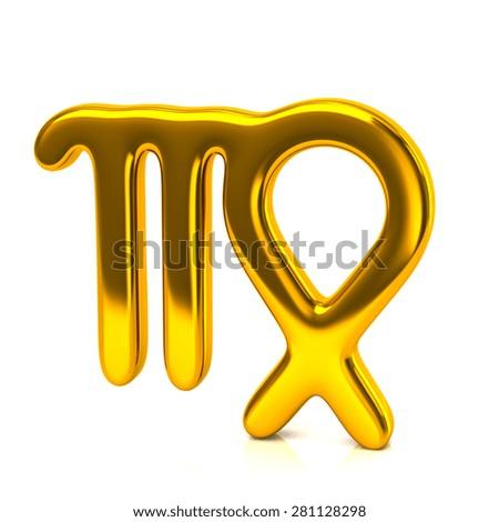 Golden virgo zodiac sign isolated on white background - stock photo