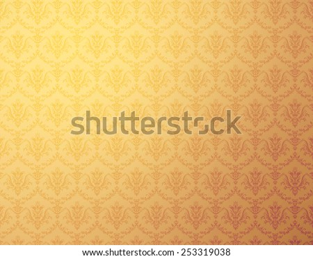 Golden wallpaper with soft floral pattern - stock photo