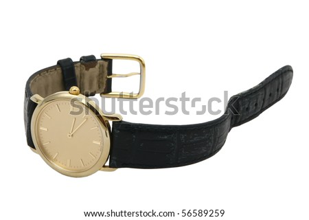 Golden watch with leather