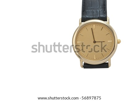 Golden watch with leather - stock photo