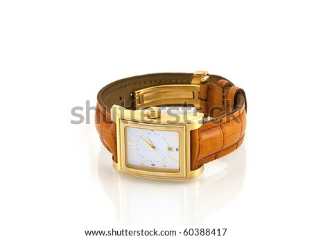 Golden watch with leather strap isolated white