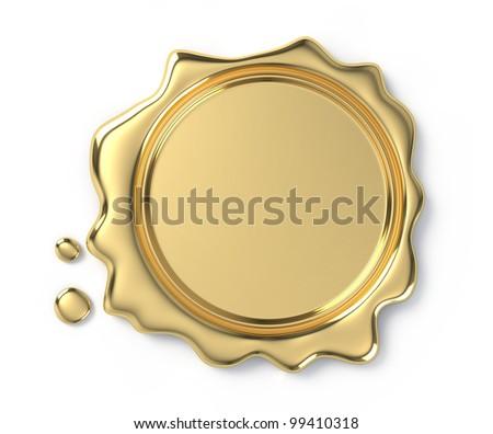 Golden wax seal on white background - stock photo