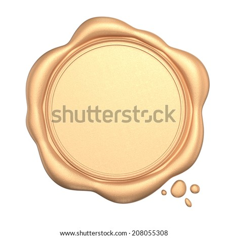 Golden wax seal with blank space isolated on white background - stock photo