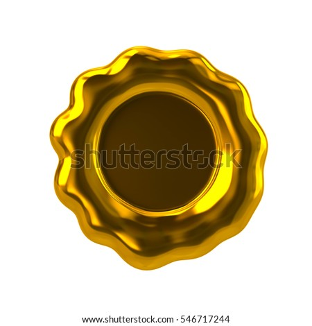 Golden wax stamp 3d rendering on white background