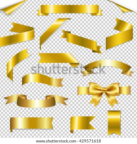 Golden Web Ribbons Collection, Isolated on Transparent Background - stock photo