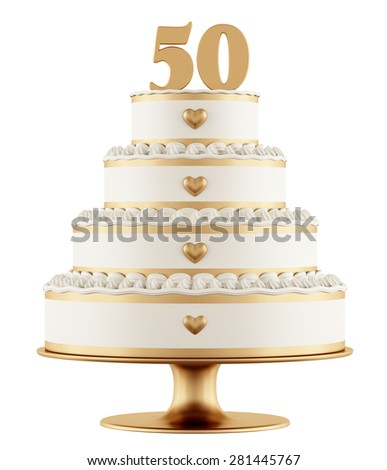 Golden wedding cake isolated on white background - 3D Rendering