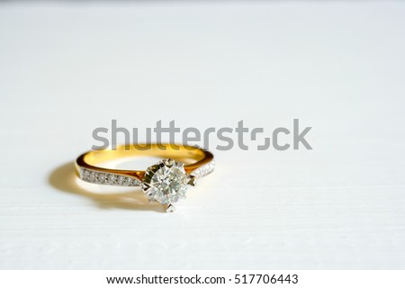 Golden Wedding Ring Diamond On White Stock Photo Royalty Free