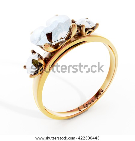 Golden wedding ring with heart shaped diamond and I love you text. 3D illustration.
