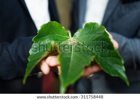 Golden wedding rings on green leaf - stock photo