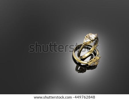 Golden wedding rings with diamonds.. Fashion jewelry. 3d digitally rendered illustration