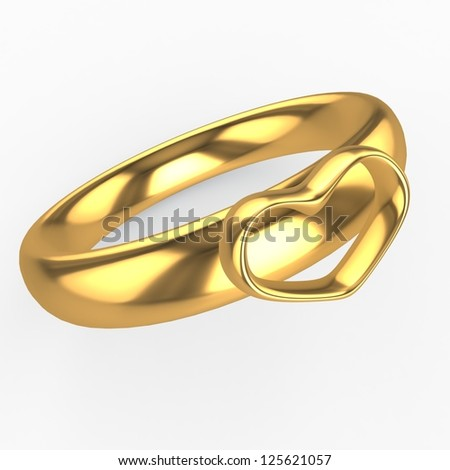 Golden wedding ringwith a heart
