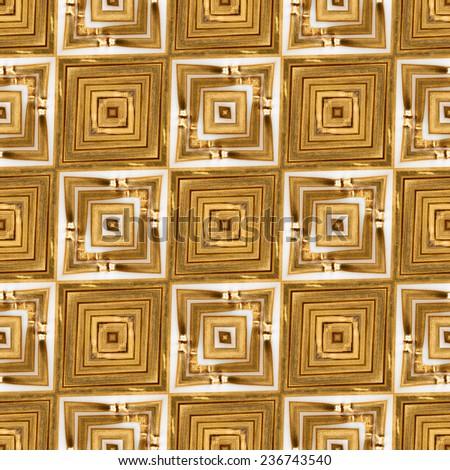 Golden Wheat Straw Seamless Kaleidoscope - stock photo