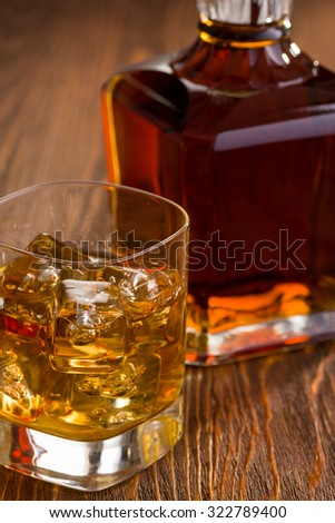 Golden Whiskey with Fine Crystal Whiskey Bottle