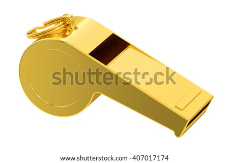 golden whistle, 3D rendering isolated on white background - stock photo