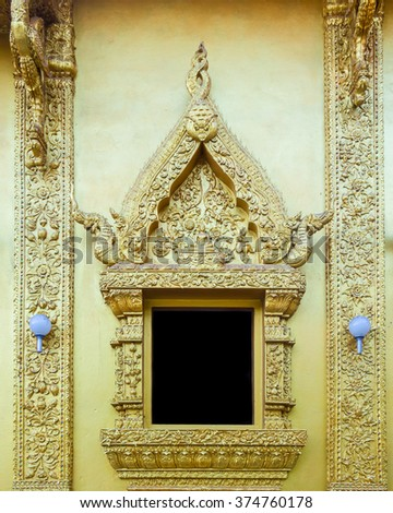 Golden window is most found in Thai temple where is the public place - stock photo