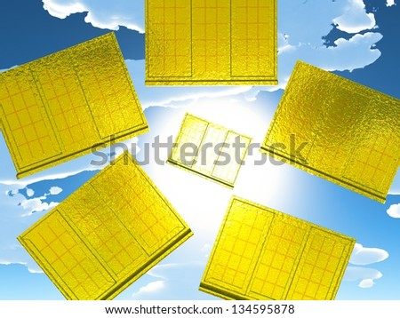 Golden windows of opportunity  overlooking  dramatic sky - stock photo