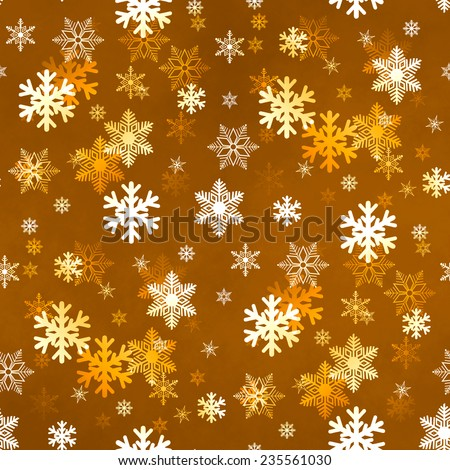 Golden winter Christmas snowflakes with a seamless pattern as background image. - stock photo