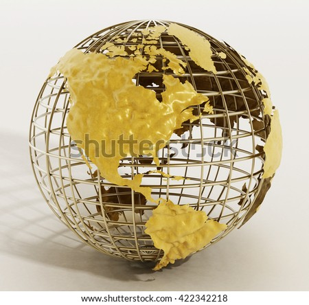 Golden wire earth isolated on white background. 3D illustration. - stock photo