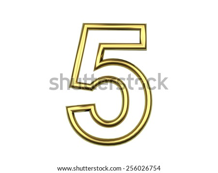 Golden wire number five on a white isolated background - stock photo