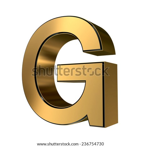 Golden with black rim high quality 3d render font type letter G isolated on white , uppercase