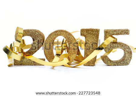 golden 2015 with ribbon on white background - stock photo