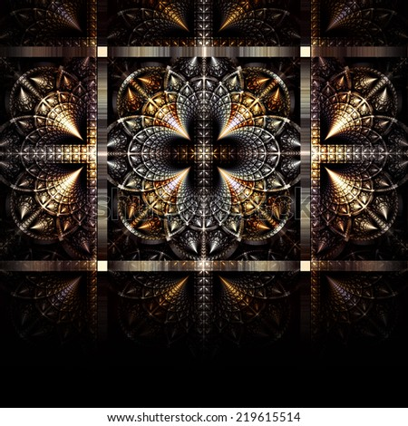 Golden with silver steel pattern. Gothic beautiful background on black. Fractal art - stock photo