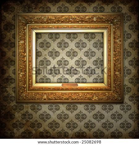 golden wood frame on vintage background - stock photo