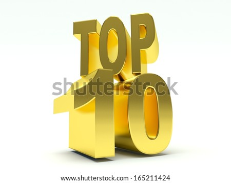 Golden Words Top 10. 3d render illustration.