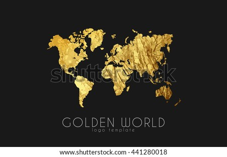 golden world map. world logo design. creative world logo - stock photo