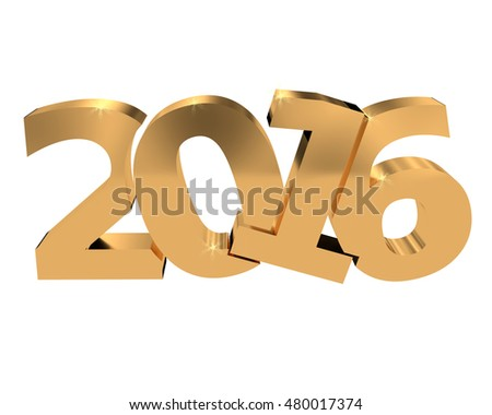 Golden Year 2016 on a white background, 3d rendering