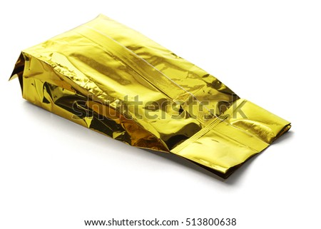 Golden Yellow Aluminum Pouch Lying on White Background