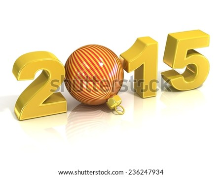 Golden yellow 2015, with striped Christmas ball, New Year concept. 3D render illustration isolated on white background.
