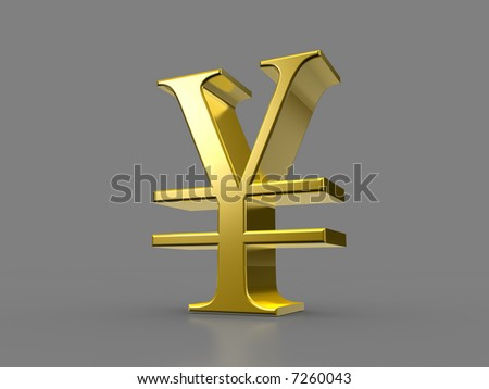 Golden Yen Sign - stock photo