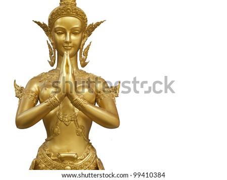 Goldent Ginnaree statue art - stock photo