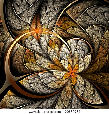 Golder flower or butterfly, digital fractal art design - stock photo