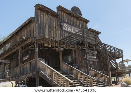 Goldfield Ghost Town, AZ, USA - July 16, 2016: Mammoth Saloon in the Goldfield Ghost Town.