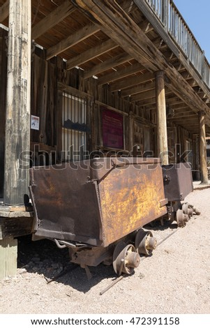 Goldfield Ghost Town, AZ, USA - July 16, 2016: mine gold cart in Goldfield Ghost Town.