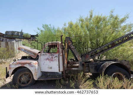 Goldfield Ghost Town, AZ, USA - July 16, 2016: old retro truck in the Goldfield Ghost town. Back in the 1890s the town had a general store, 3 saloons, a boarding house, a brewery and a school house.