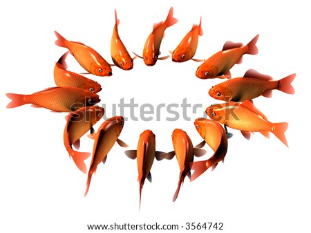 Goldfish in Ring - stock photo