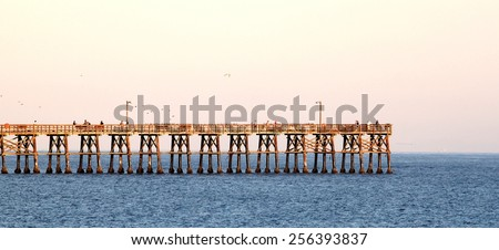 Goleta pier in the evening at sunset.