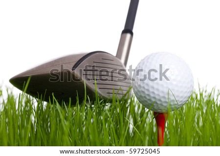 Golf - A golfball on a tee and a golfclub on a white background - stock photo