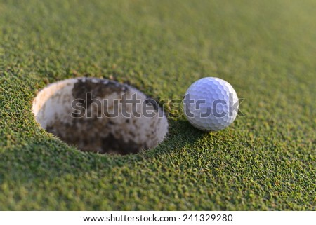 Golf and hole - stock photo