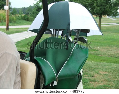 golf bag cover - stock photo