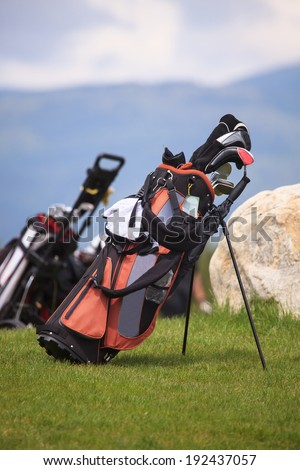 golf bag in spring green golf club grass