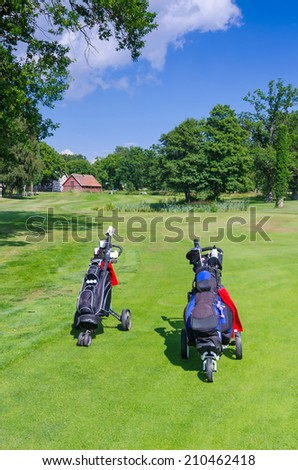 Golf bags on Swedish golf course