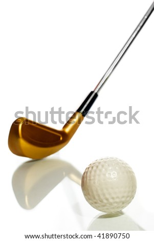 Golf ball and club on white with reflection